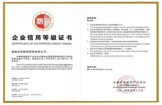 企业信用等级评价AAA级信用企业证书